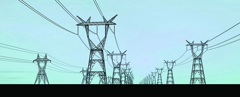 Electricity pylons carrying very high voltage power lines