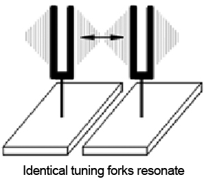 Identical tuning forks resonate
